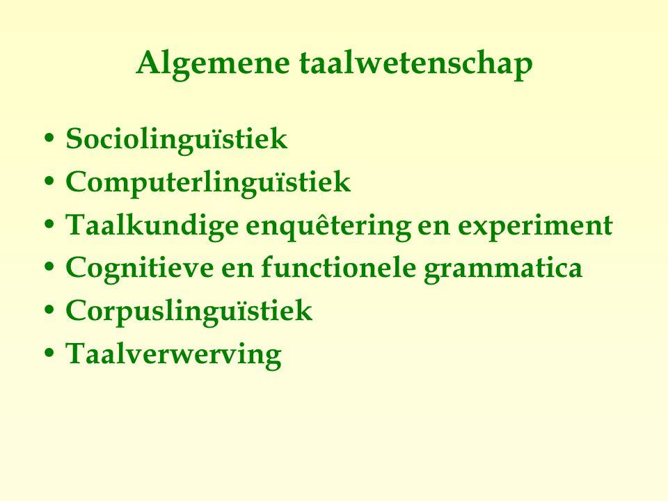 Algemene taalwetenschap Sociolinguïstiek Computerlinguïstiek Taalkundige enquêtering en experiment Cognitieve en functionele grammatica Corpuslinguïstiek Taalverwerving