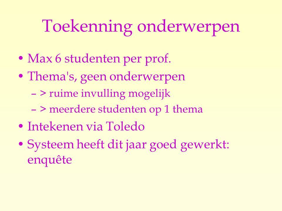 Toekenning onderwerpen Max 6 studenten per prof.