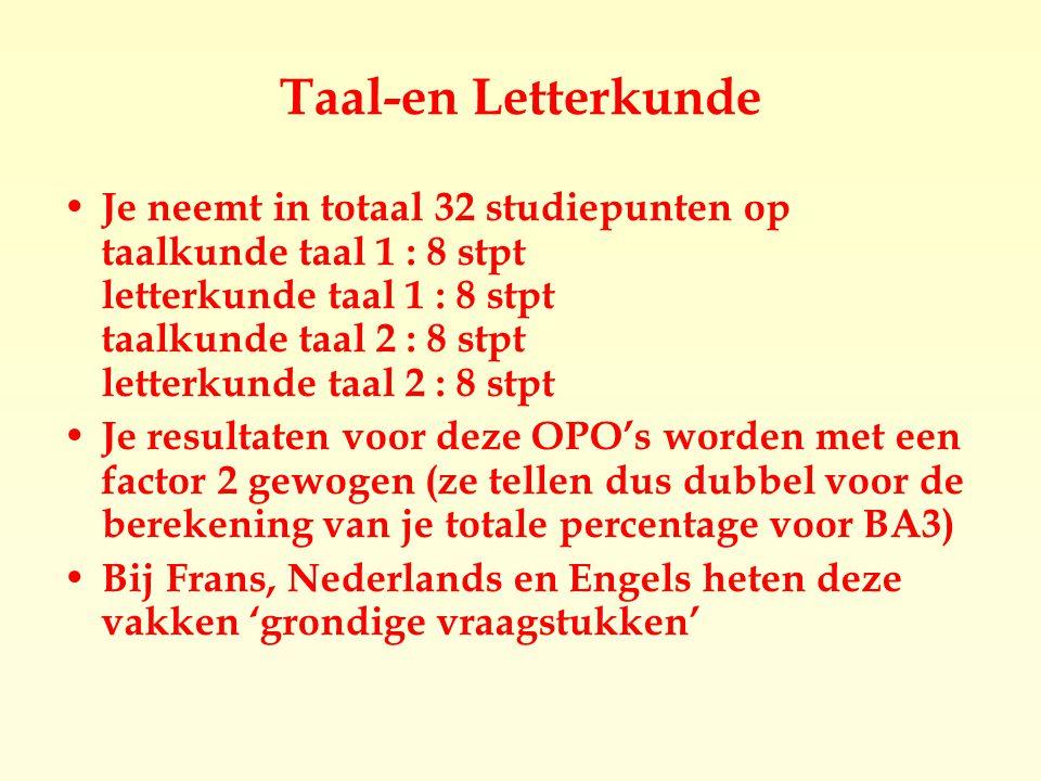 Taal-en Letterkunde Je neemt in totaal 32 studiepunten op taalkunde taal 1 : 8 stpt letterkunde taal 1 : 8 stpt taalkunde taal 2 : 8 stpt letterkunde taal 2 : 8 stpt Je resultaten voor deze OPO's worden met een factor 2 gewogen (ze tellen dus dubbel voor de berekening van je totale percentage voor BA3)  Bij Frans, Nederlands en Engels heten deze vakken 'grondige vraagstukken'
