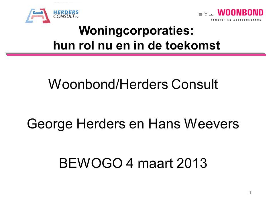 Woonbond/Herders Consult George Herders en Hans Weevers BEWOGO 4 maart 2013 Woningcorporaties: hun rol nu en in de toekomst 1