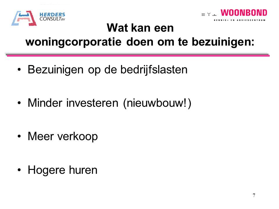 Bezuinigen op de bedrijfslasten Minder investeren (nieuwbouw!) Meer verkoop Hogere huren. Wat kan een woningcorporatie doen om te bezuinigen: 7