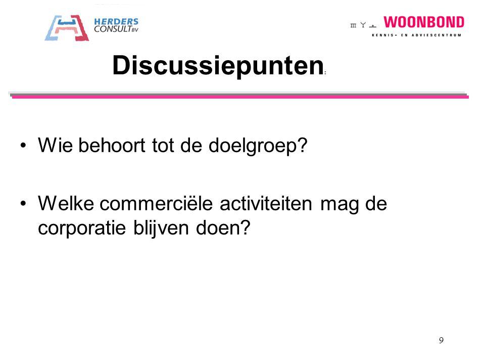 Wie behoort tot de doelgroep? Welke commerciële activiteiten mag de corporatie blijven doen? Discussiepunten : 9