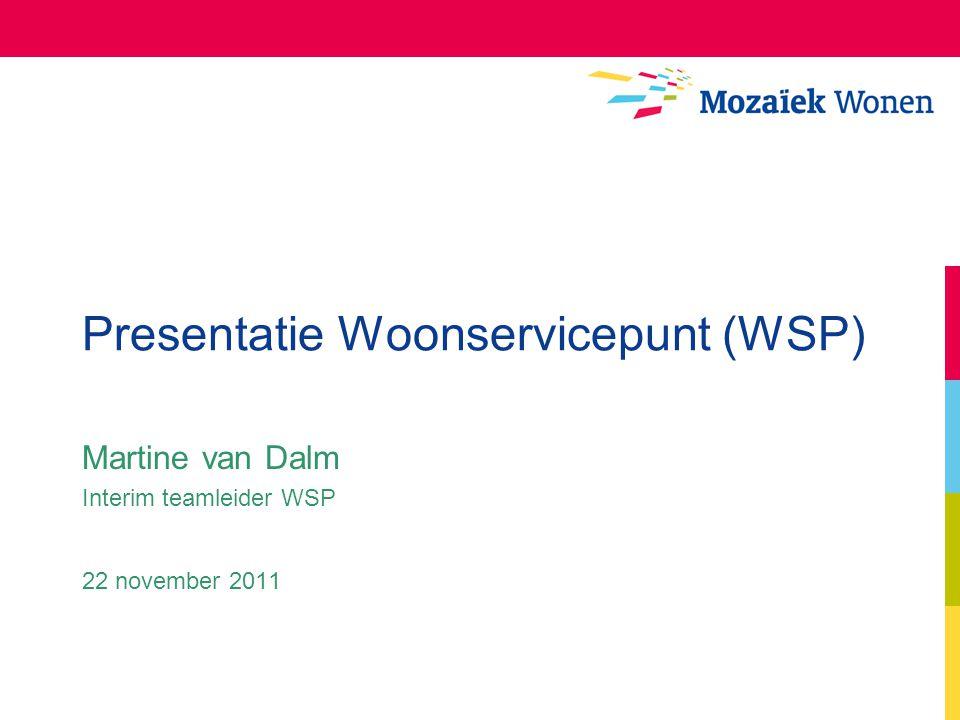 Presentatie Woonservicepunt (WSP) Martine van Dalm Interim teamleider WSP 22 november 2011