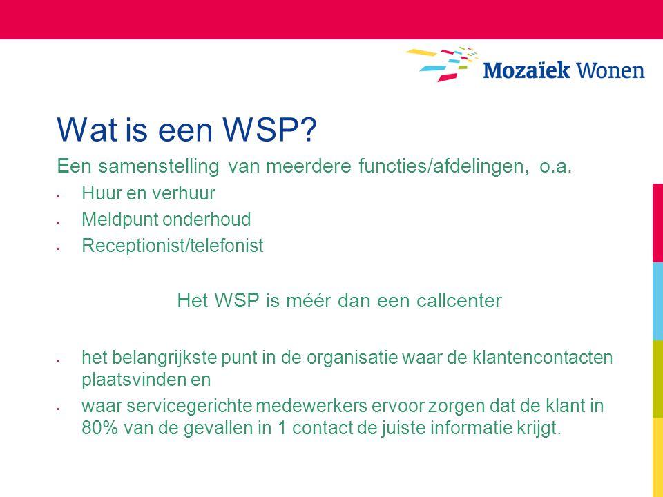 Wat is een WSP? Een samenstelling van meerdere functies/afdelingen, o.a. Huur en verhuur Meldpunt onderhoud Receptionist/telefonist Het WSP is méér da