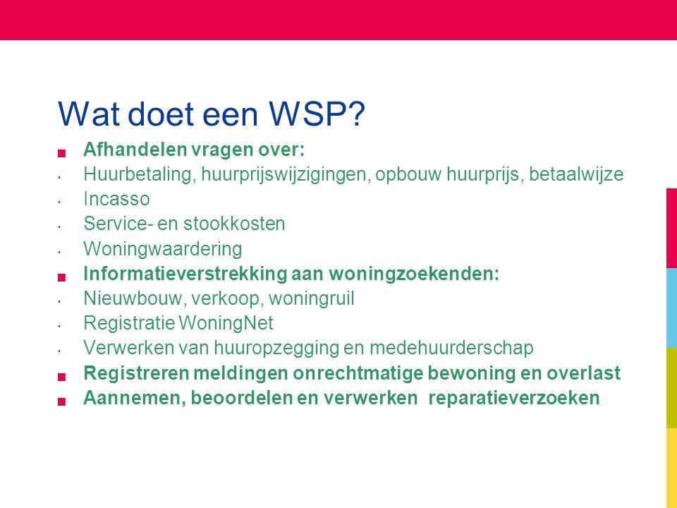 Wat doet een WSP?  Afhandelen vragen over: Huurbetaling, huurprijswijzigingen, opbouw huurprijs, betaalwijze Incasso Service- en stookkosten Woningwa