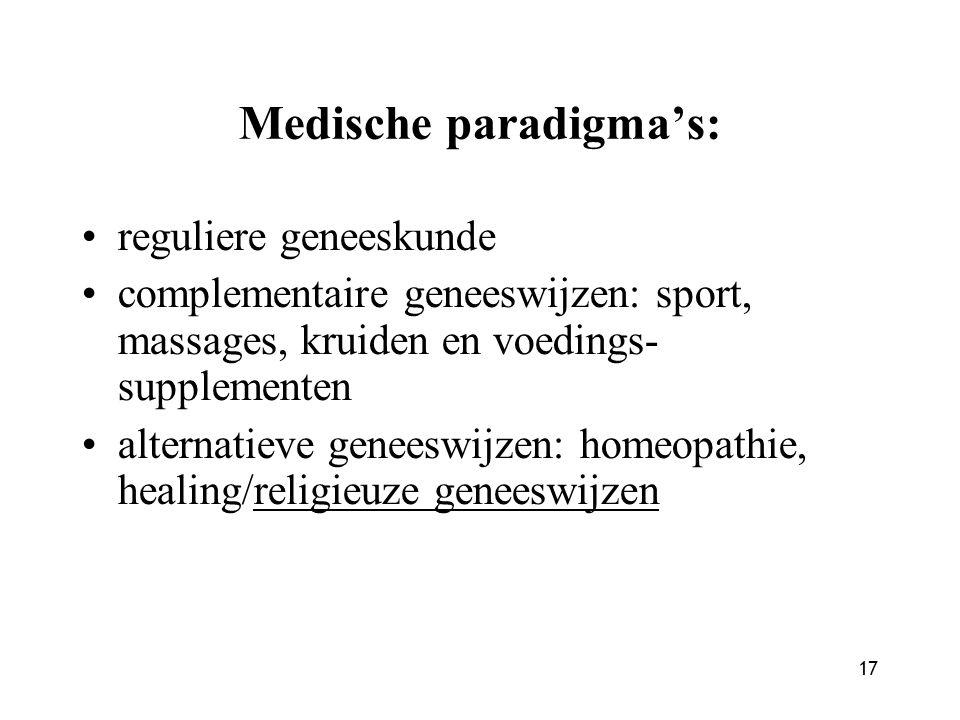 17 Medische paradigma's: reguliere geneeskunde complementaire geneeswijzen: sport, massages, kruiden en voedings- supplementen alternatieve geneeswijzen: homeopathie, healing/religieuze geneeswijzen
