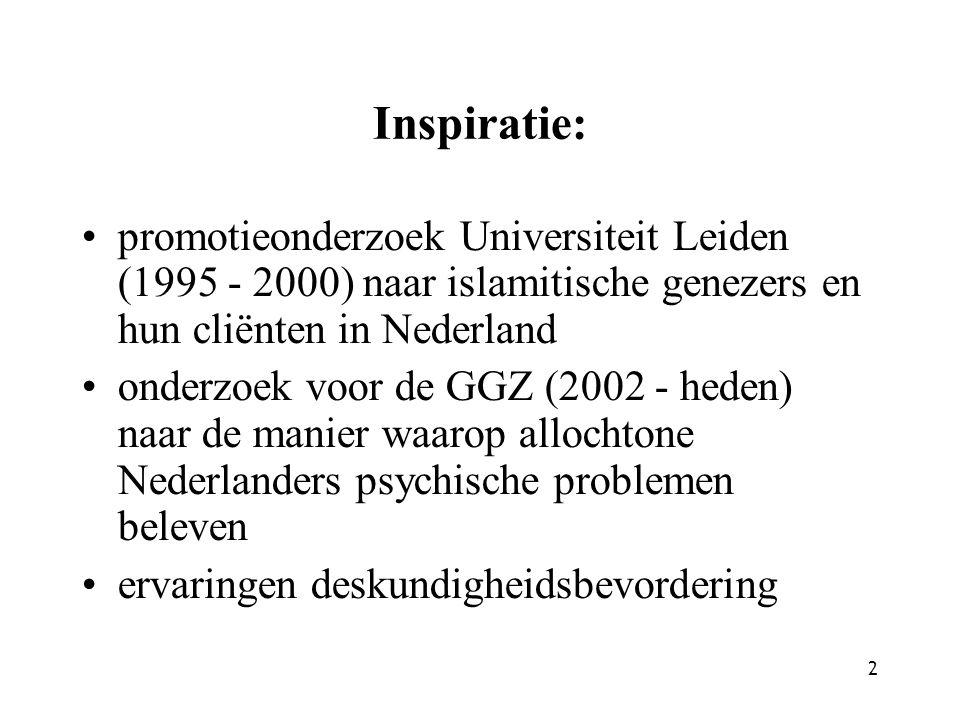 2 Inspiratie: promotieonderzoek Universiteit Leiden (1995 - 2000) naar islamitische genezers en hun cliënten in Nederland onderzoek voor de GGZ (2002 - heden) naar de manier waarop allochtone Nederlanders psychische problemen beleven ervaringen deskundigheidsbevordering