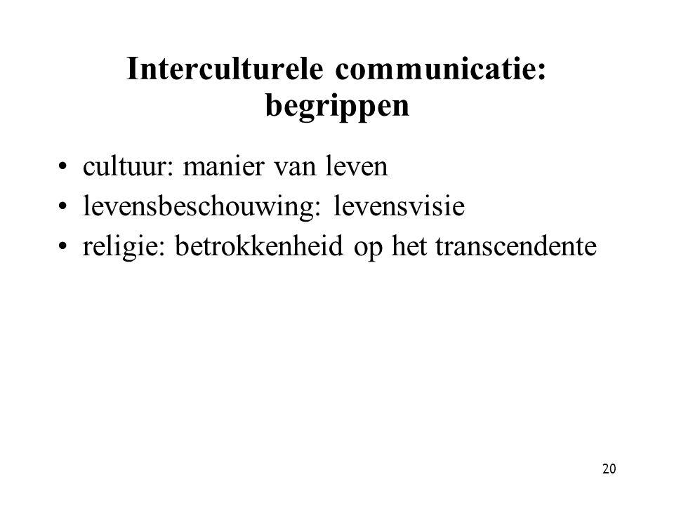 20 Interculturele communicatie: begrippen cultuur: manier van leven levensbeschouwing: levensvisie religie: betrokkenheid op het transcendente