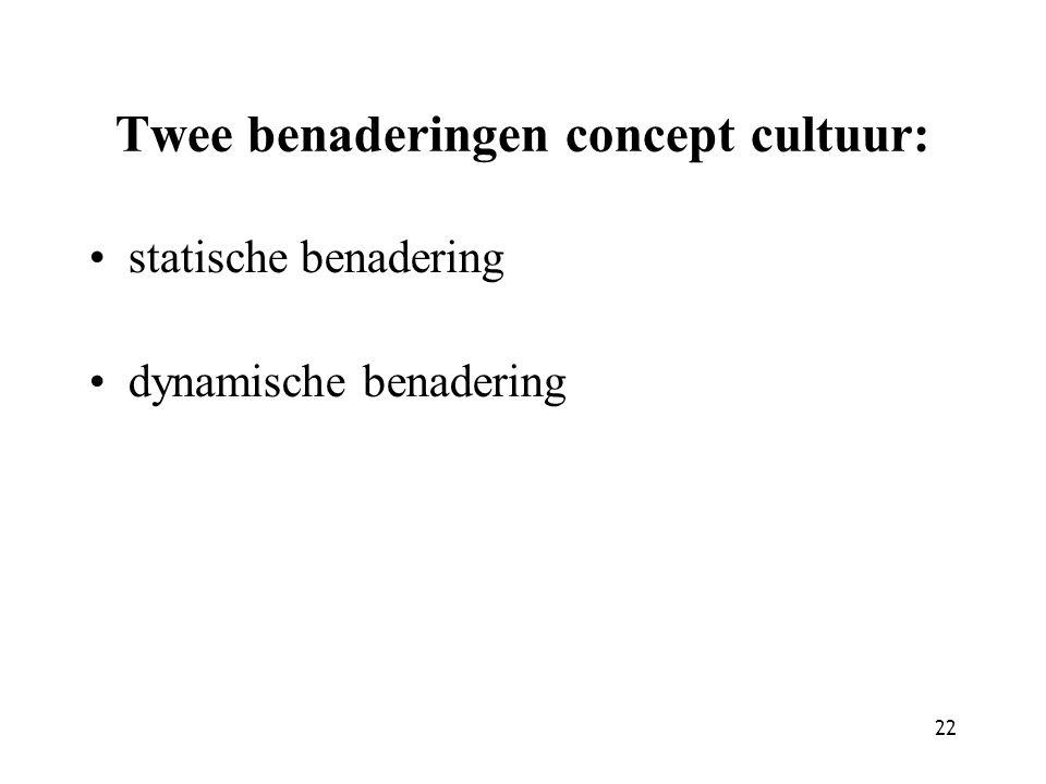 22 Twee benaderingen concept cultuur: statische benadering dynamische benadering