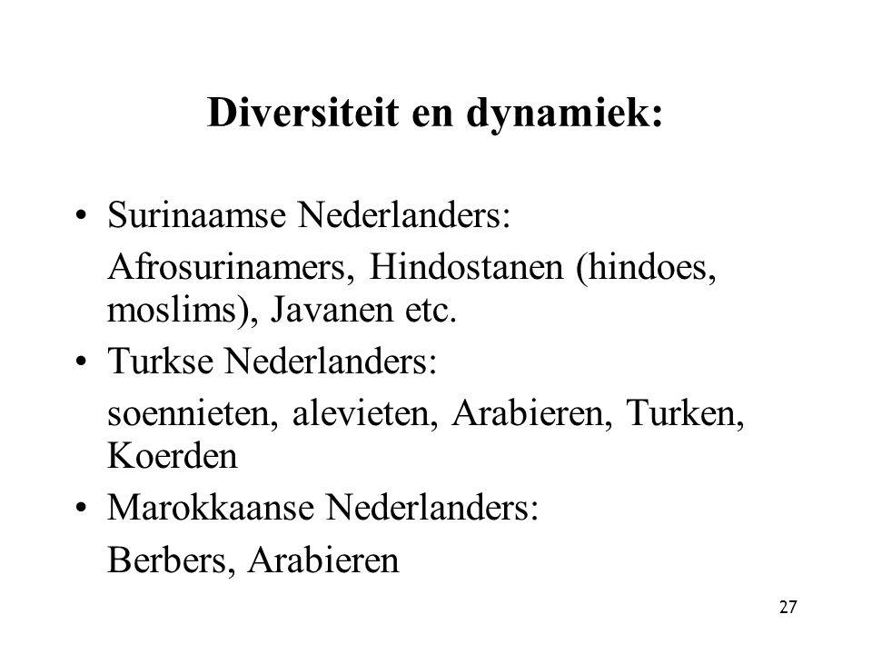 27 Diversiteit en dynamiek: Surinaamse Nederlanders: Afrosurinamers, Hindostanen (hindoes, moslims), Javanen etc.