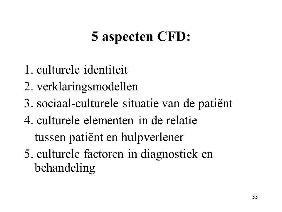 33 5 aspecten CFD: 1. culturele identiteit 2. verklaringsmodellen 3. sociaal-culturele situatie van de patiënt 4. culturele elementen in de relatie tu