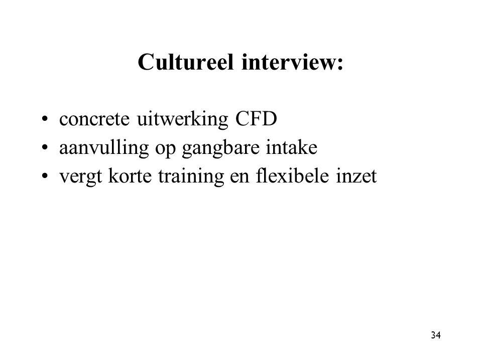 34 Cultureel interview: concrete uitwerking CFD aanvulling op gangbare intake vergt korte training en flexibele inzet