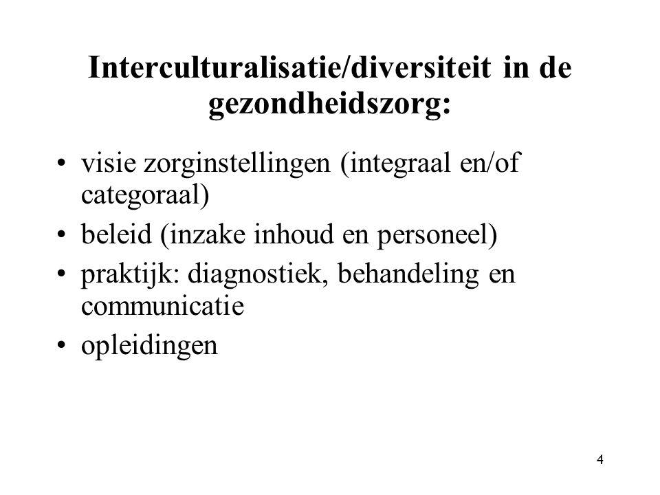 4 Interculturalisatie/diversiteit in de gezondheidszorg: visie zorginstellingen (integraal en/of categoraal) beleid (inzake inhoud en personeel) praktijk: diagnostiek, behandeling en communicatie opleidingen