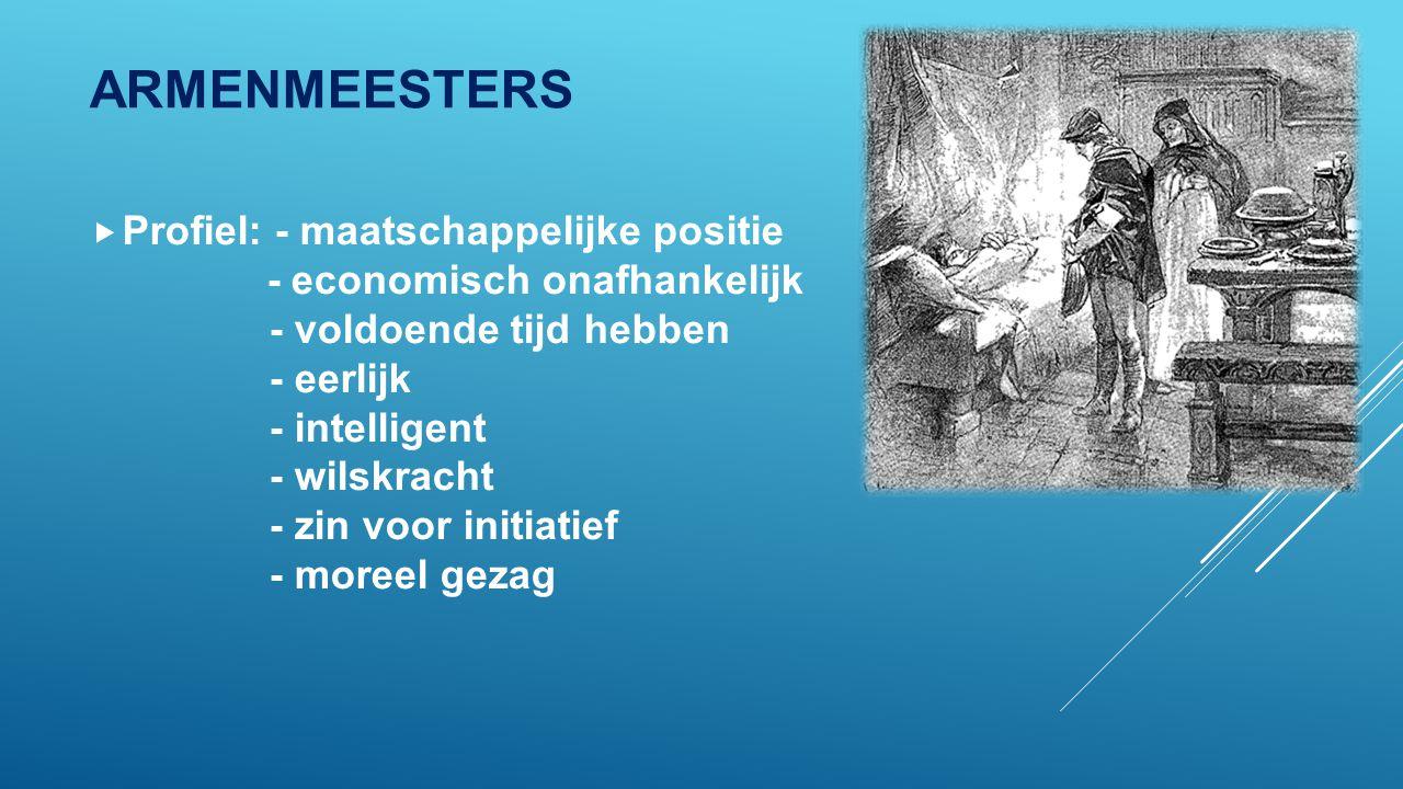 ARMENMEESTERS  Profiel: - maatschappelijke positie - economisch onafhankelijk - voldoende tijd hebben - eerlijk - intelligent - wilskracht - zin voor initiatief - moreel gezag