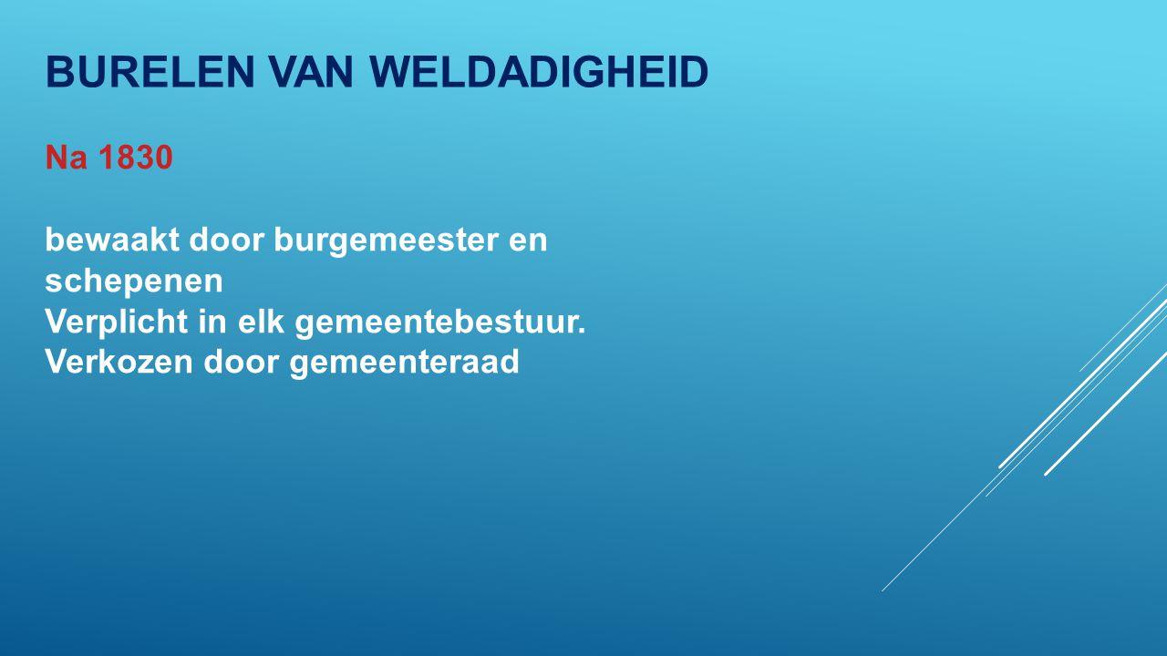 BURELEN VAN WELDADIGHEID Na 1830 bewaakt door burgemeester en schepenen Verplicht in elk gemeentebestuur.