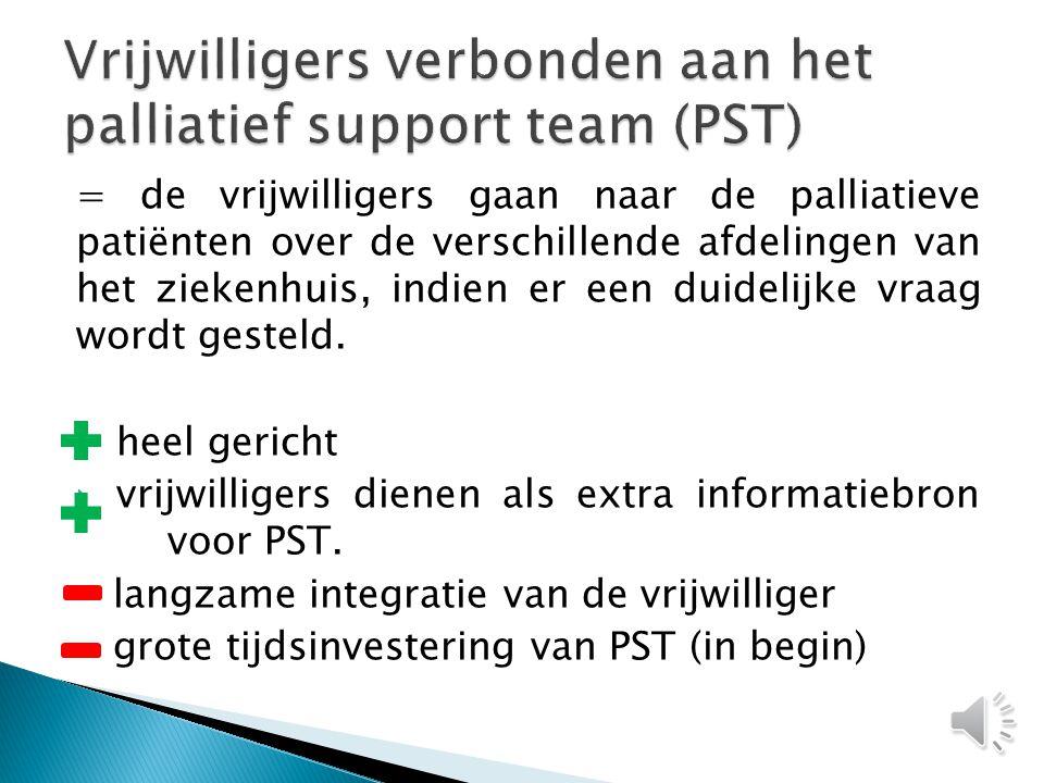  3 modellen voor het inschakelen van vrijwilligers in de zorg voor palliatieve patiënten op curatieve eenheid: ◦ Palliatieve support team ◦ Palliatieve eenheid+ en - ◦ Curatieve eenheid