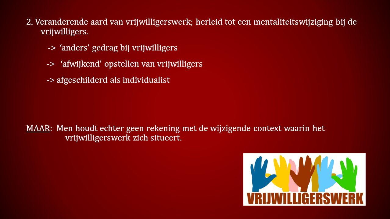 2. Veranderende aard van vrijwilligerswerk; herleid tot een mentaliteitswijziging bij de vrijwilligers. -> 'anders' gedrag bij vrijwilligers -> 'afwij