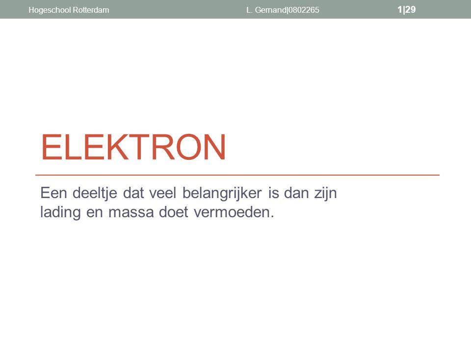 ELEKTRON Een deeltje dat veel belangrijker is dan zijn lading en massa doet vermoeden. L. Gernand|0802265 1|29 Hogeschool Rotterdam