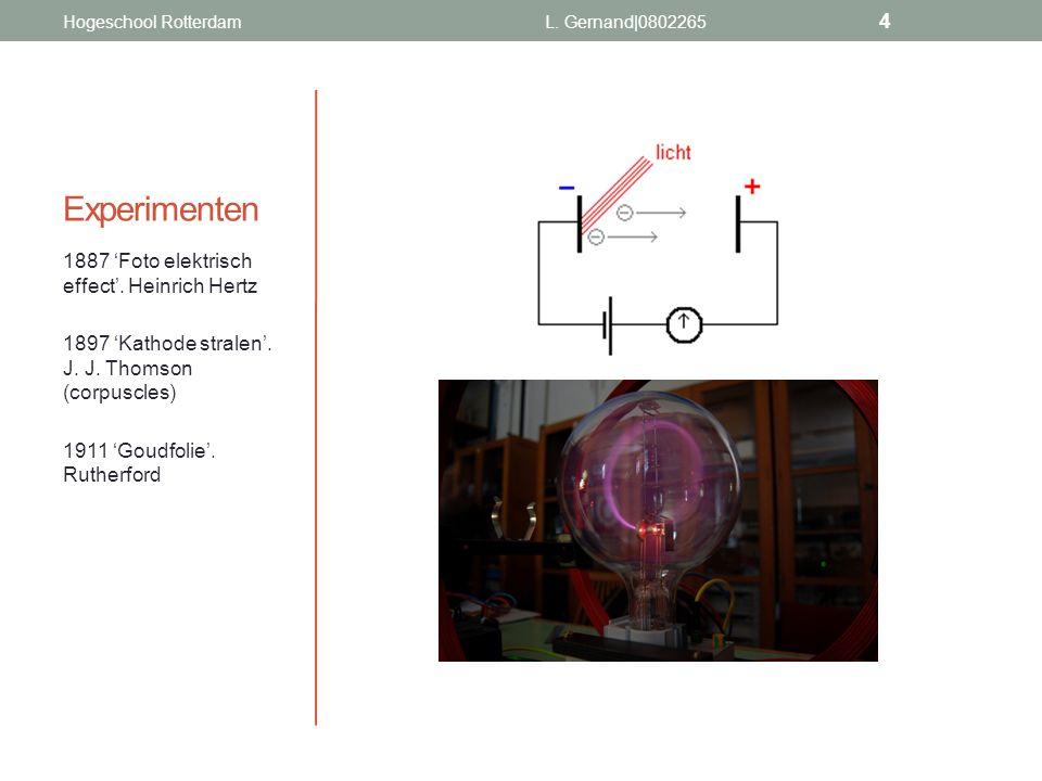 Experimenten 1887 'Foto elektrisch effect'. Heinrich Hertz 1897 'Kathode stralen'. J. J. Thomson (corpuscles) 1911 'Goudfolie'. Rutherford Hogeschool