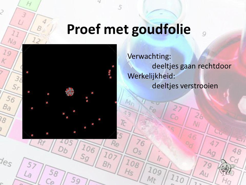 Proef met goudfolie Verwachting: deeltjes gaan rechtdoor Werkelijkheid: deeltjes verstrooien