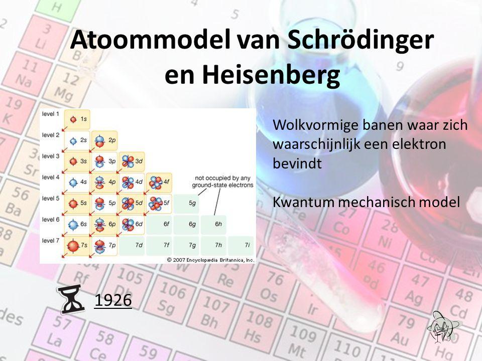 Atoommodel van Schrödinger en Heisenberg 1926 Wolkvormige banen waar zich waarschijnlijk een elektron bevindt Kwantum mechanisch model
