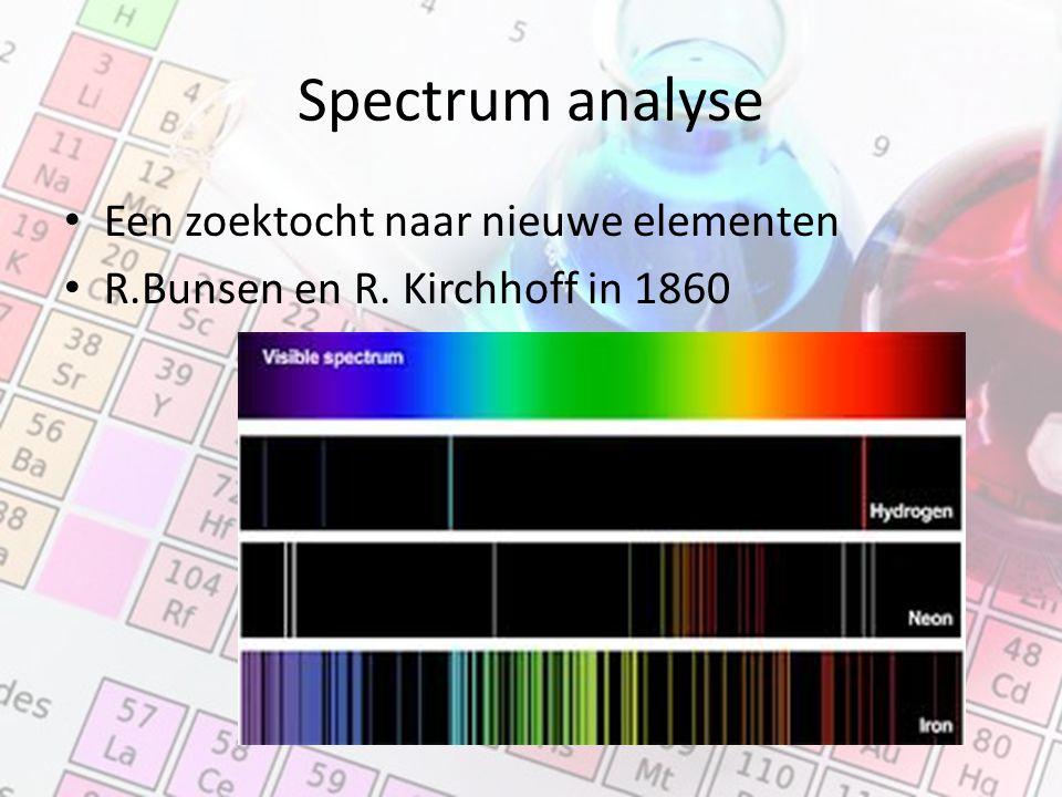 Spectrum analyse Een zoektocht naar nieuwe elementen R.Bunsen en R. Kirchhoff in 1860