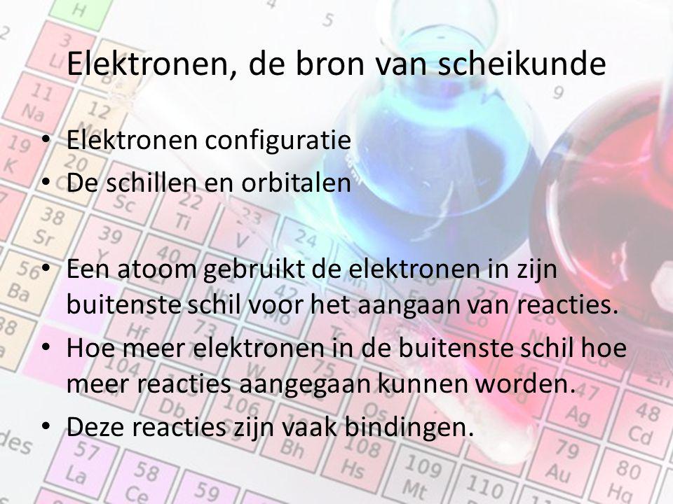 Elektronen, de bron van scheikunde Elektronen configuratie De schillen en orbitalen Een atoom gebruikt de elektronen in zijn buitenste schil voor het aangaan van reacties.