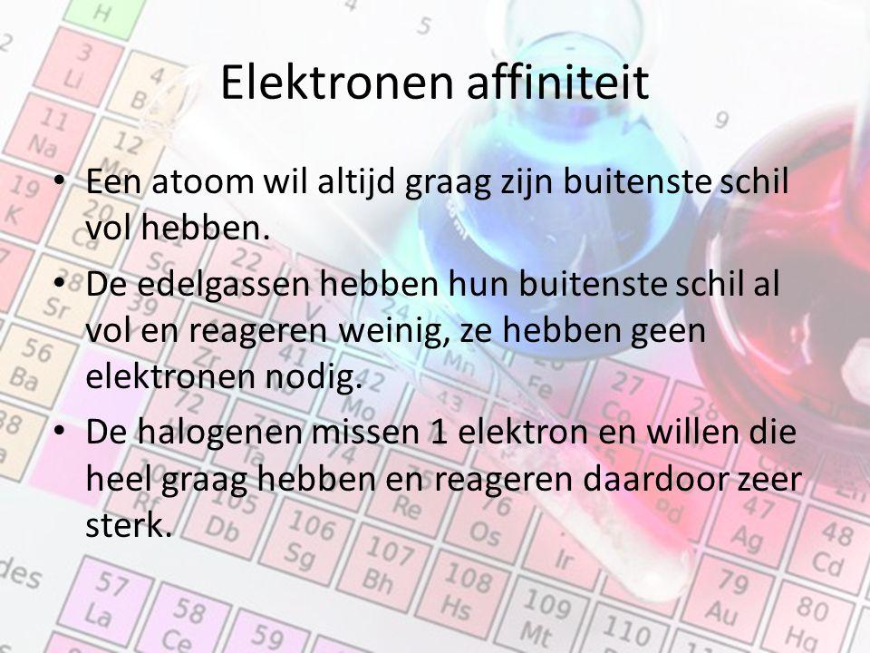 Elektronen affiniteit Een atoom wil altijd graag zijn buitenste schil vol hebben. De edelgassen hebben hun buitenste schil al vol en reageren weinig,