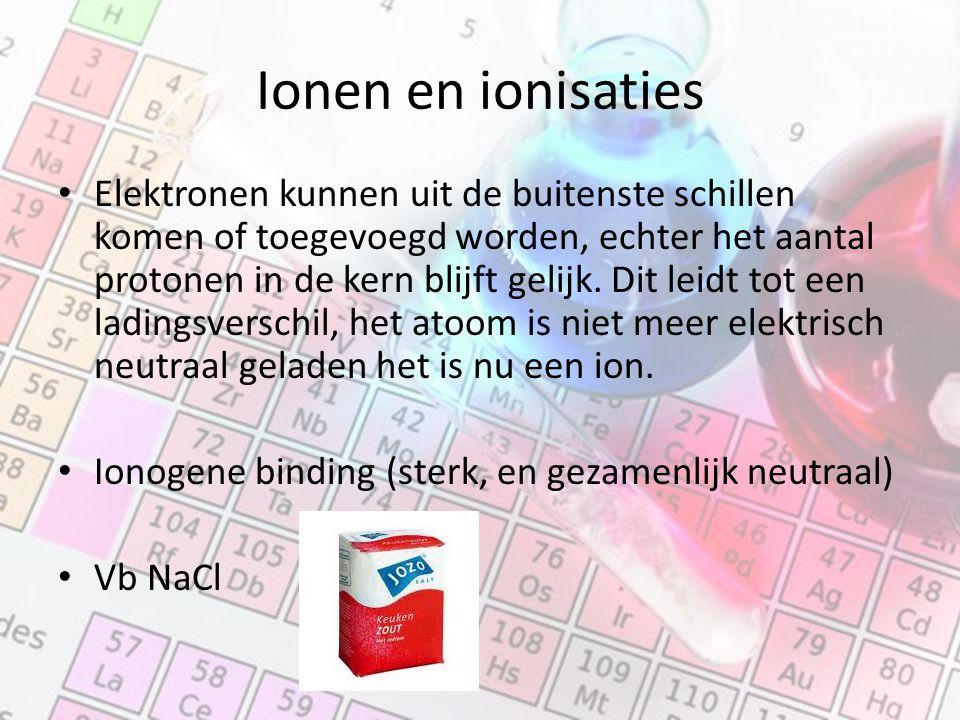 Ionen en ionisaties Elektronen kunnen uit de buitenste schillen komen of toegevoegd worden, echter het aantal protonen in de kern blijft gelijk.