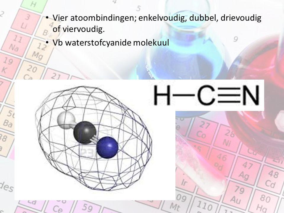 Vier atoombindingen; enkelvoudig, dubbel, drievoudig of viervoudig. Vb waterstofcyanide molekuul