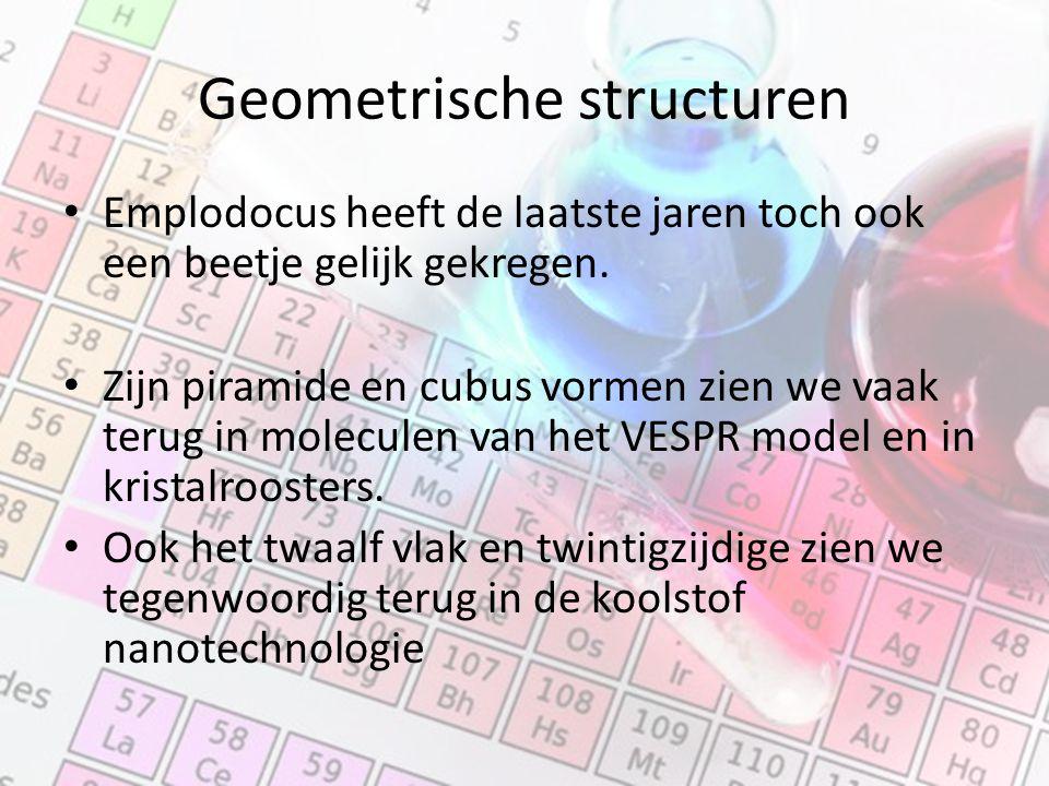 Geometrische structuren Emplodocus heeft de laatste jaren toch ook een beetje gelijk gekregen. Zijn piramide en cubus vormen zien we vaak terug in mol