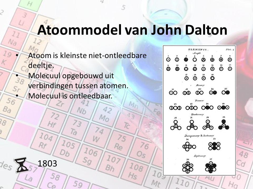 Atoommodel van John Dalton 1803 Atoom is kleinste niet-ontleedbare deeltje. Molecuul opgebouwd uit verbindingen tussen atomen. Molecuul is ontleedbaar