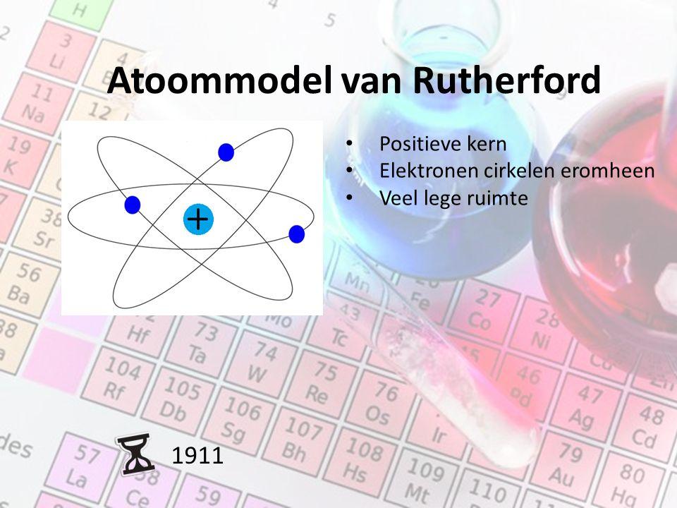 Atoommodel van Rutherford 1911 Positieve kern Elektronen cirkelen eromheen Veel lege ruimte