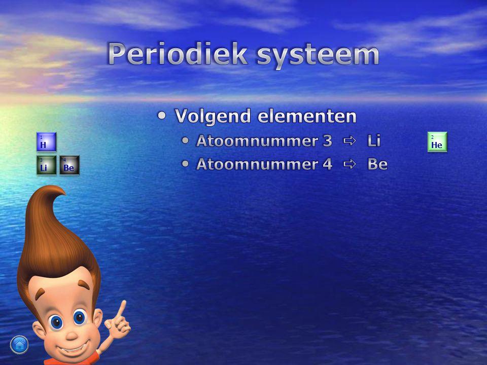 Volgend elementen Volgend elementen Atoomnummer 3  Li Atoomnummer 4  Be 1H1H 1H1H 2 He 2 He 3 Li 3 Li 4 Be 4 Be