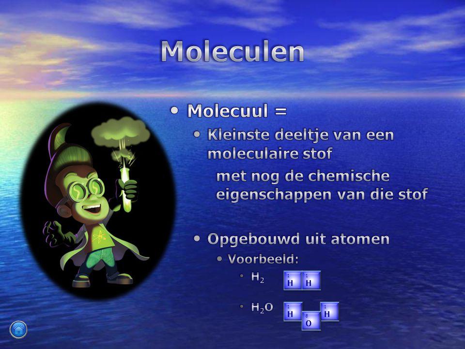 Molecuul = Molecuul = Kleinste deeltje van een moleculaire stof met nog de chemische eigenschappen van die stof Opgebouwd uit atomen Voorbeeld: H 2 H