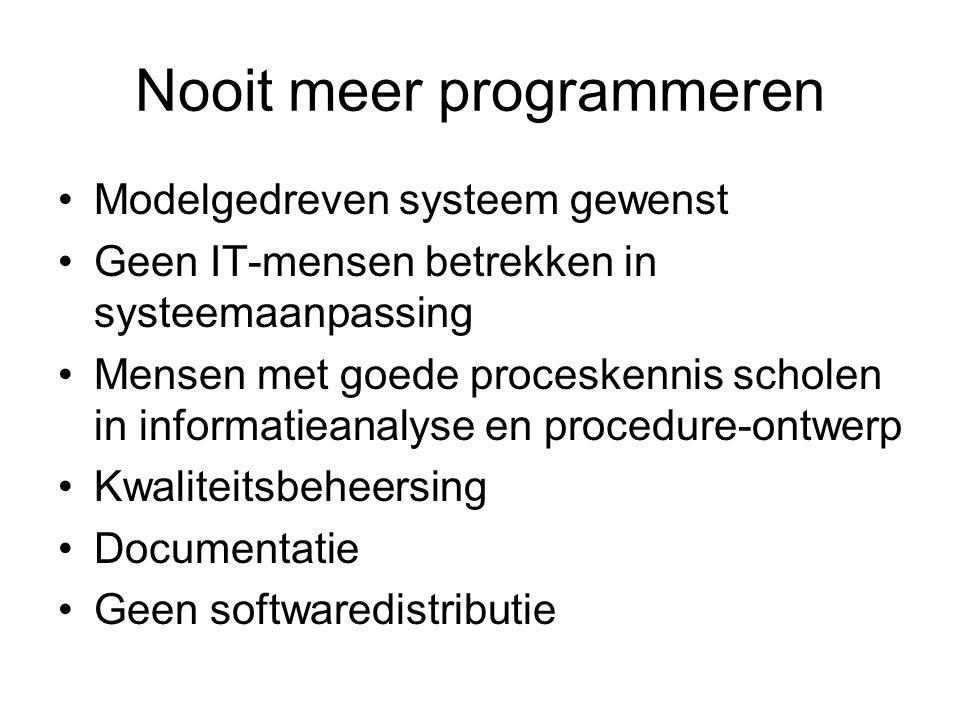 Nooit meer programmeren Modelgedreven systeem gewenst Geen IT-mensen betrekken in systeemaanpassing Mensen met goede proceskennis scholen in informatieanalyse en procedure-ontwerp Kwaliteitsbeheersing Documentatie Geen softwaredistributie