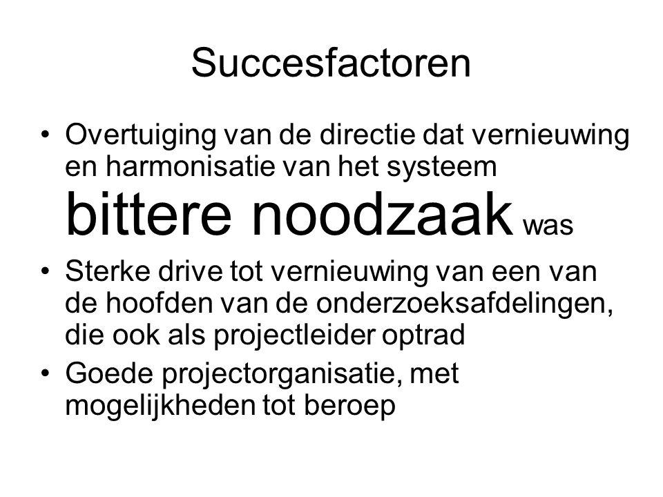 Succesfactoren Overtuiging van de directie dat vernieuwing en harmonisatie van het systeem bittere noodzaak was Sterke drive tot vernieuwing van een van de hoofden van de onderzoeksafdelingen, die ook als projectleider optrad Goede projectorganisatie, met mogelijkheden tot beroep
