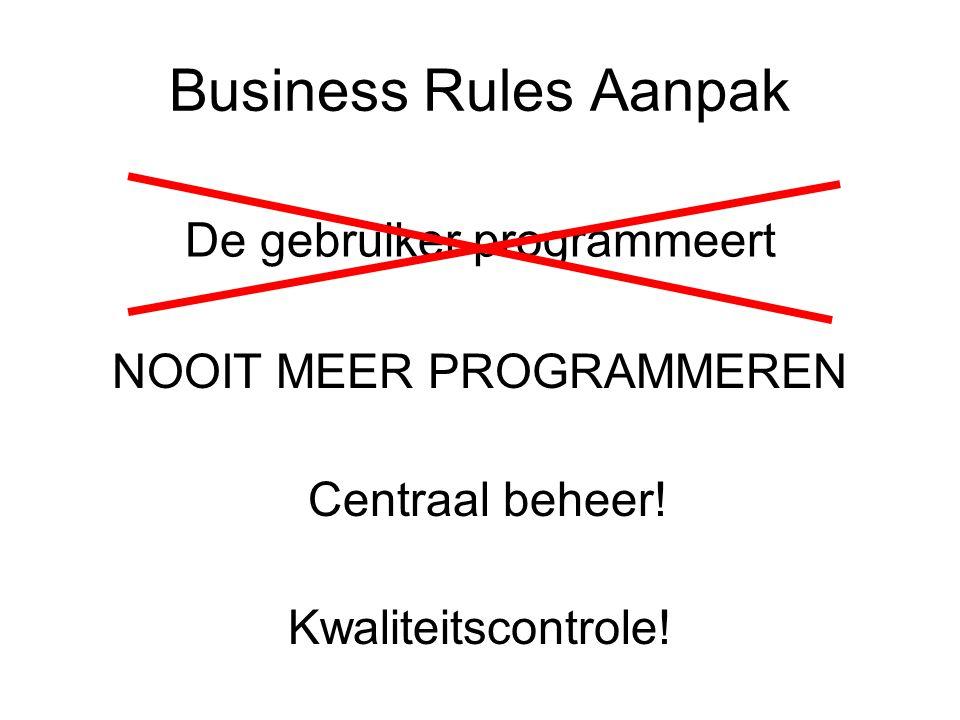 Business Rules Aanpak De gebruiker programmeert Centraal beheer.