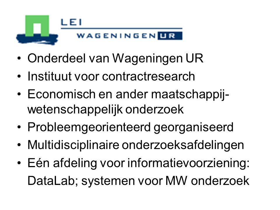 Onderdeel van Wageningen UR Instituut voor contractresearch Economisch en ander maatschappij- wetenschappelijk onderzoek Probleemgeorienteerd georganiseerd Multidisciplinaire onderzoeksafdelingen Eén afdeling voor informatievoorziening: DataLab; systemen voor MW onderzoek