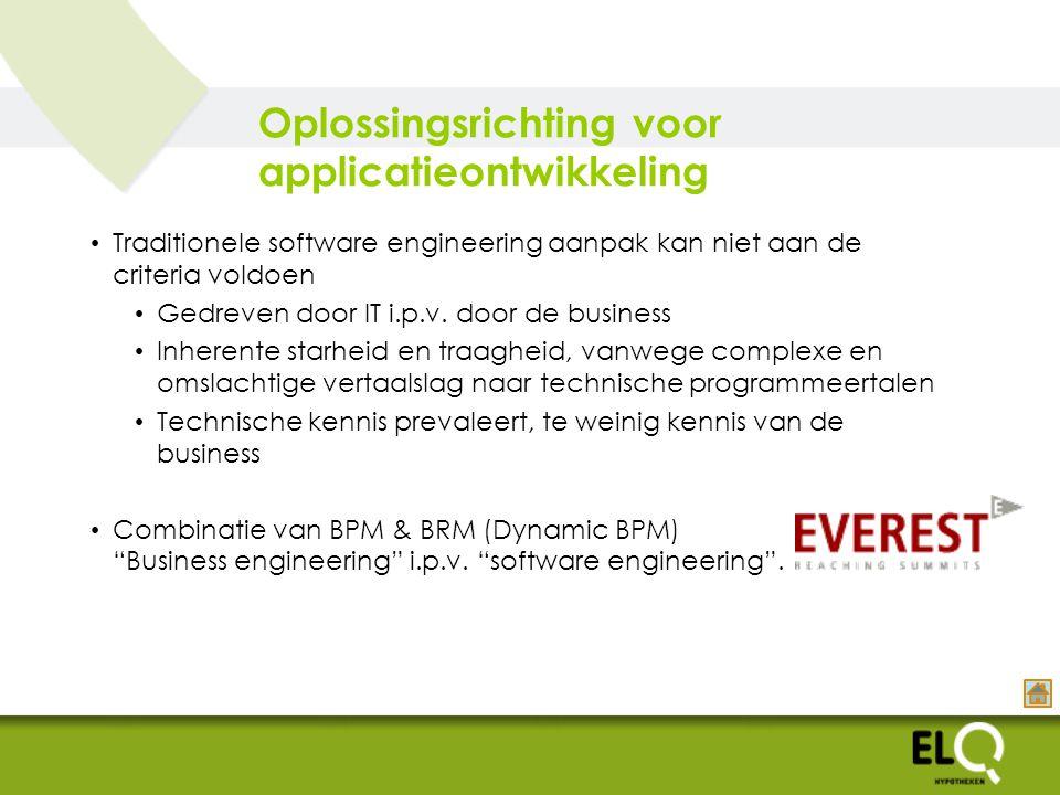 Oplossingsrichting voor applicatieontwikkeling Traditionele software engineering aanpak kan niet aan de criteria voldoen Gedreven door IT i.p.v.