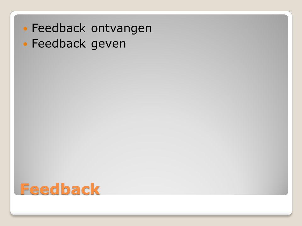 Feedback Feedback is een boodschap over het gedrag of de prestaties van een ander.