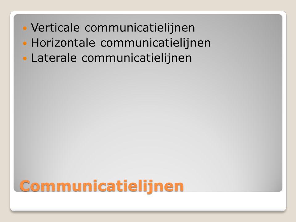 Communicatielijnen Verticale communicatielijnen Horizontale communicatielijnen Laterale communicatielijnen