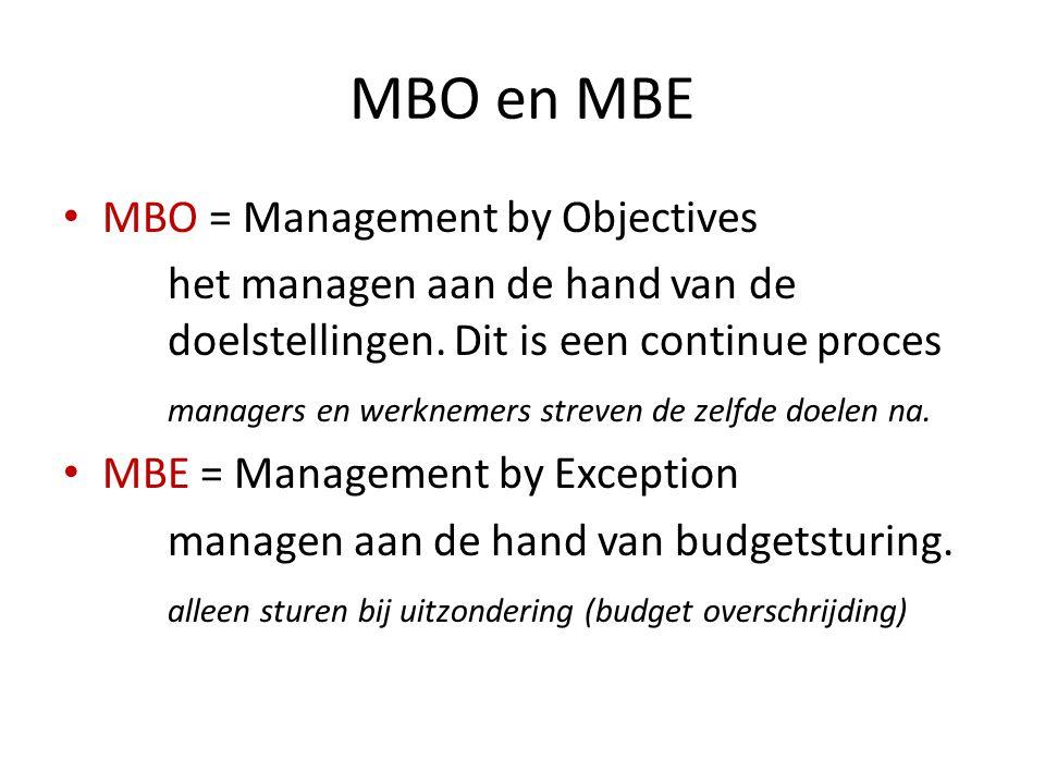 MBO en MBE MBO = Management by Objectives het managen aan de hand van de doelstellingen. Dit is een continue proces managers en werknemers streven de