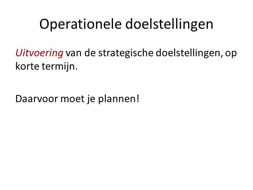Operationele doelstellingen Uitvoering van de strategische doelstellingen, op korte termijn. Daarvoor moet je plannen!