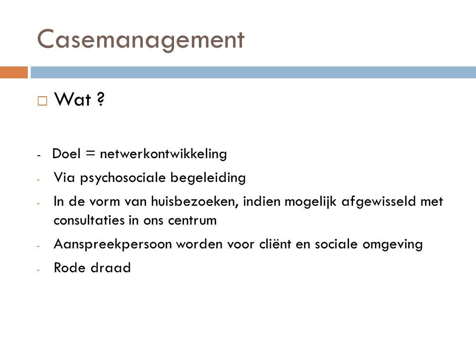 Casemanagement  Visie - Cliëntgericht - Zorg op maat - Tempo cliënt - Presentie - Empowerment - Participatie en (re)ïntegratie - Continuïteit