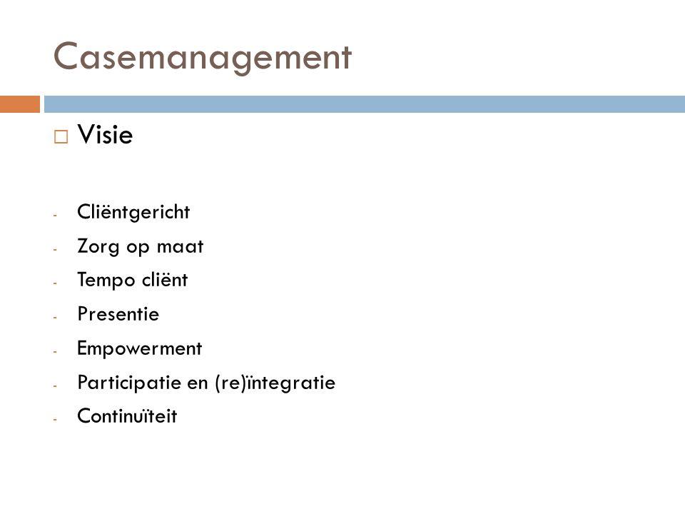 Casemanagement  Hulpverleningsproces - Aanmelding - Intakeproces - Begeleiding - Afronding