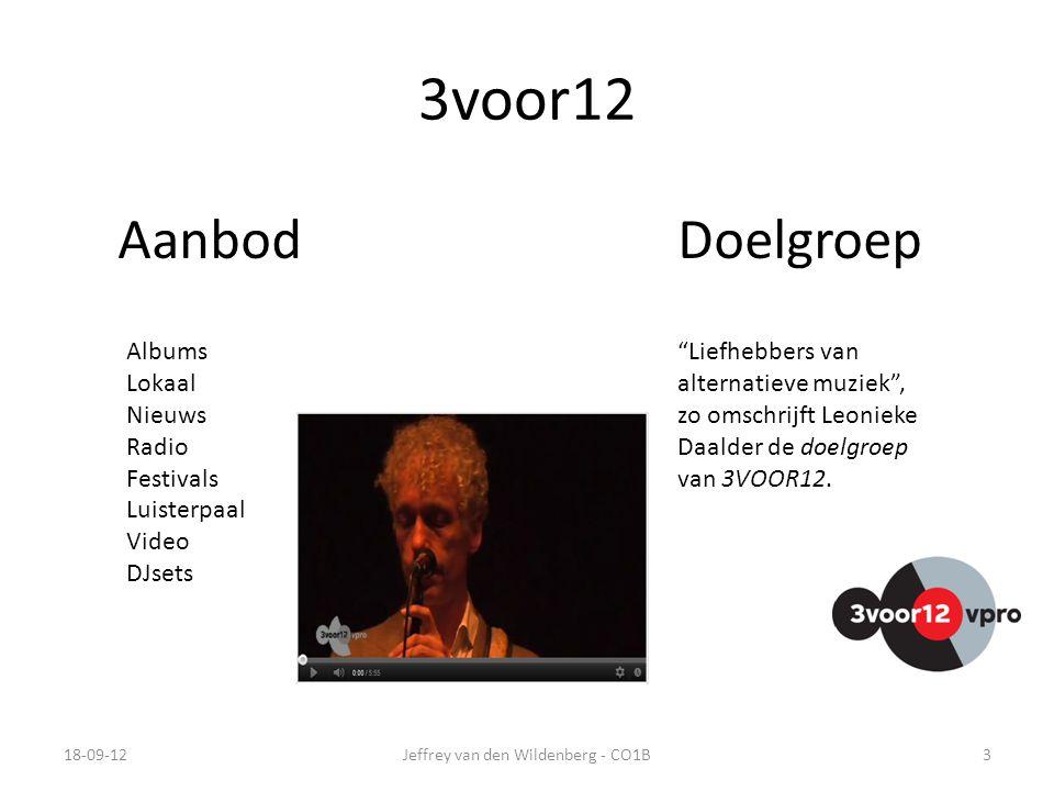 3voor12 18-09-12Jeffrey van den Wildenberg - CO1B3 AanbodDoelgroep Albums Lokaal Nieuws Radio Festivals Luisterpaal Video DJsets Liefhebbers van alternatieve muziek , zo omschrijft Leonieke Daalder de doelgroep van 3VOOR12.