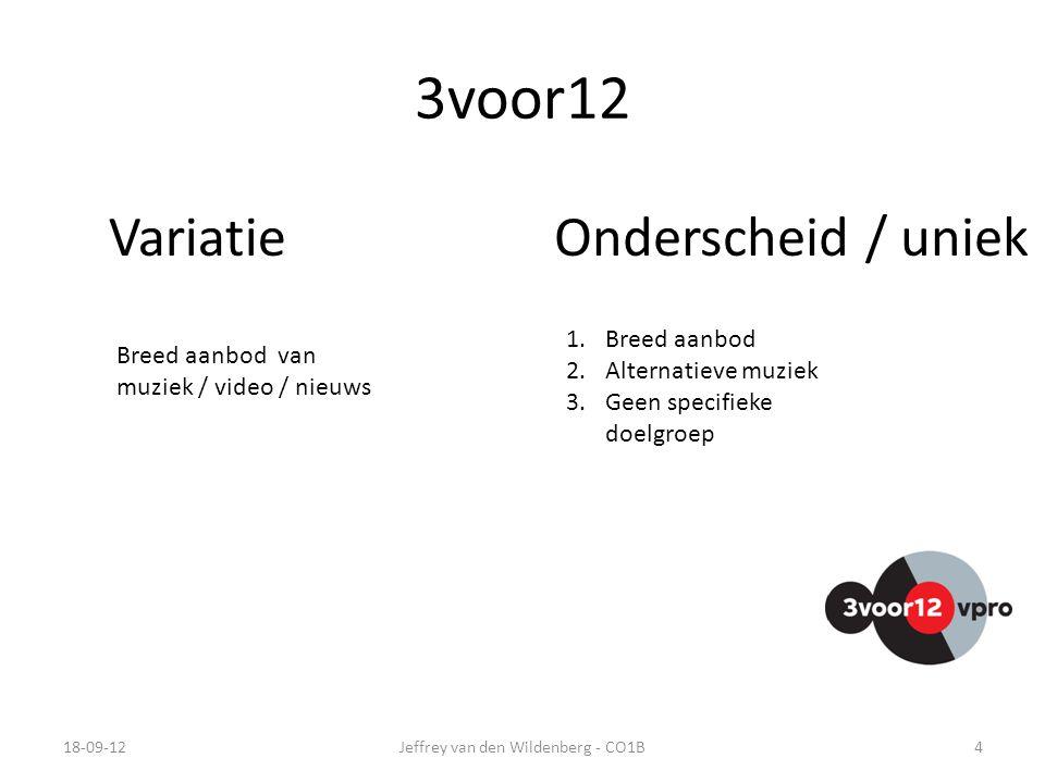 3voor12 18-09-12Jeffrey van den Wildenberg - CO1B4 VariatieOnderscheid / uniek 1.Breed aanbod 2.Alternatieve muziek 3.Geen specifieke doelgroep Breed aanbod van muziek / video / nieuws