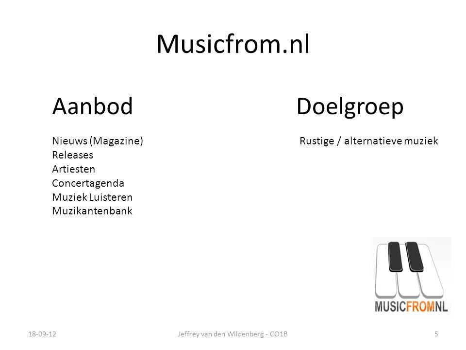 Musicfrom.nl 18-09-12Jeffrey van den Wildenberg - CO1B5 AanbodDoelgroep Nieuws (Magazine) Releases Artiesten Concertagenda Muziek Luisteren Muzikantenbank Rustige / alternatieve muziek