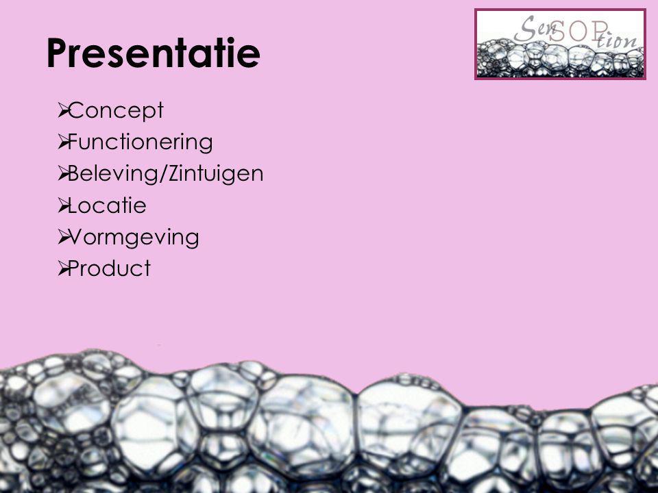 Presentatie  Concept  Functionering  Beleving/Zintuigen  Locatie  Vormgeving  Product